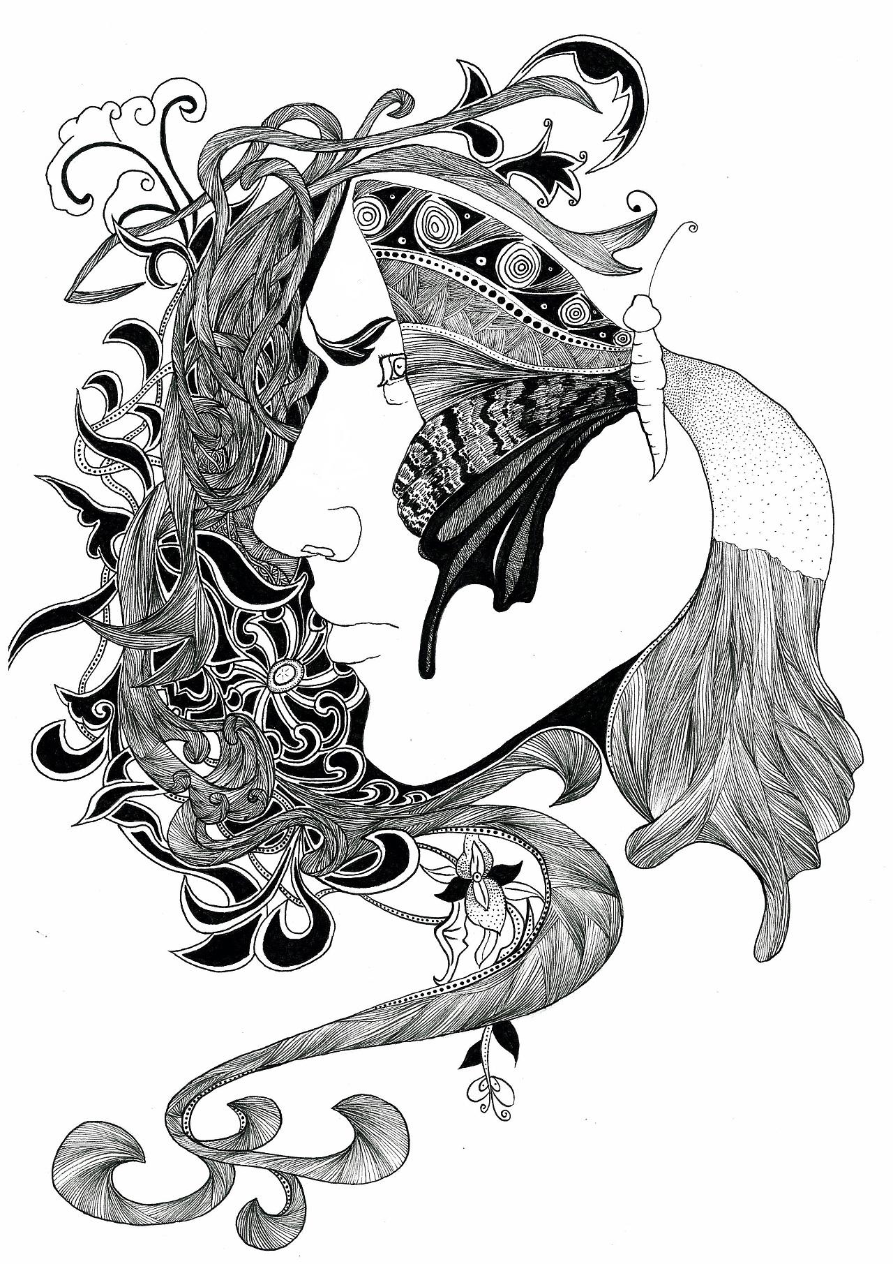 黑白手绘线条画_黑白装饰画|插画|商业插画|YE00007655 - 原创作品 - 站酷 (ZCOOL)