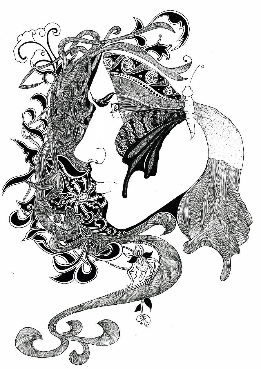 黑白装饰画|商业插画|插画|戴絮瑄