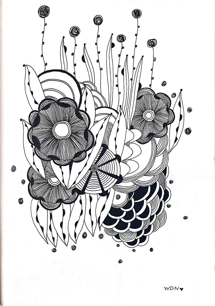 禅绕画·线描装饰画·手绘·插画图片