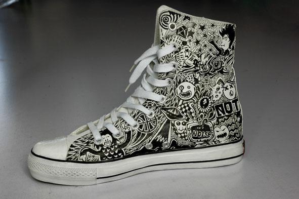 手绘鞋图案创意黑白
