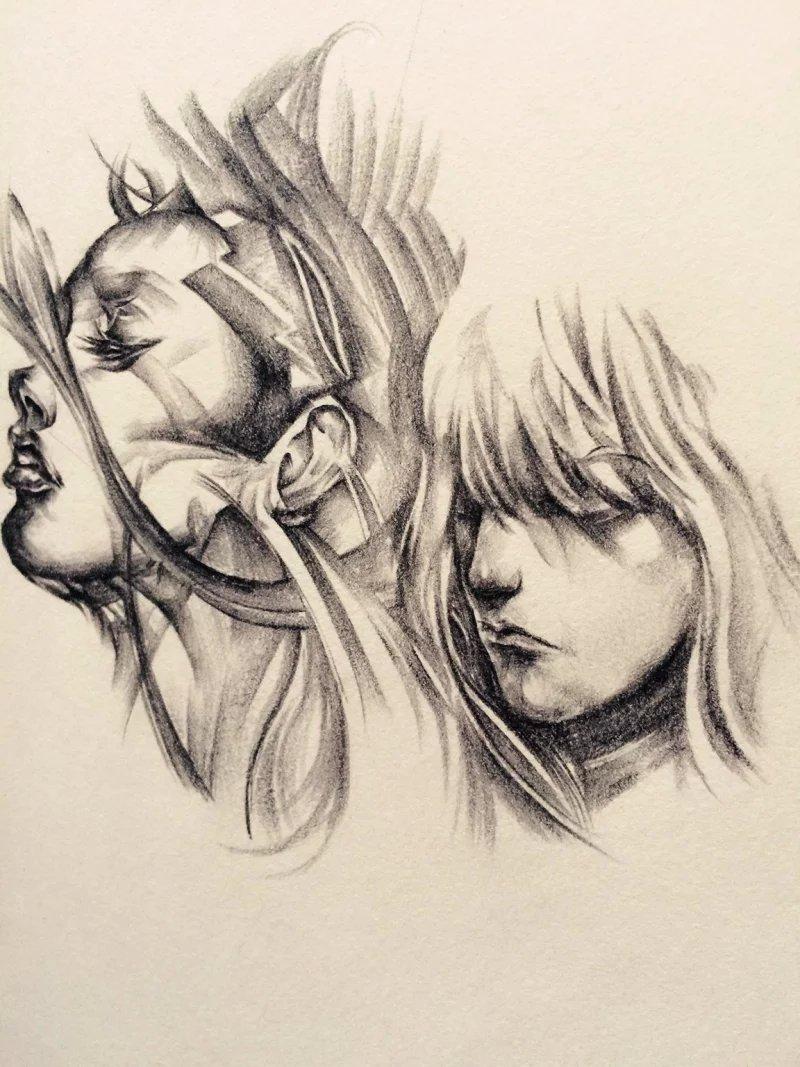 千鸢锁画【手绘】|素描|纯艺术|千鸢锁画