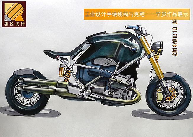 容悦设计|工业设计考研|摩托车手绘线稿马克笔-学员练习