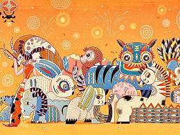 《团圆》 | 十二生肖插画