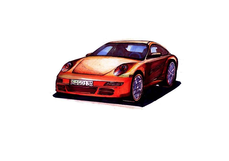 工业产品设计马克笔手绘图汽车