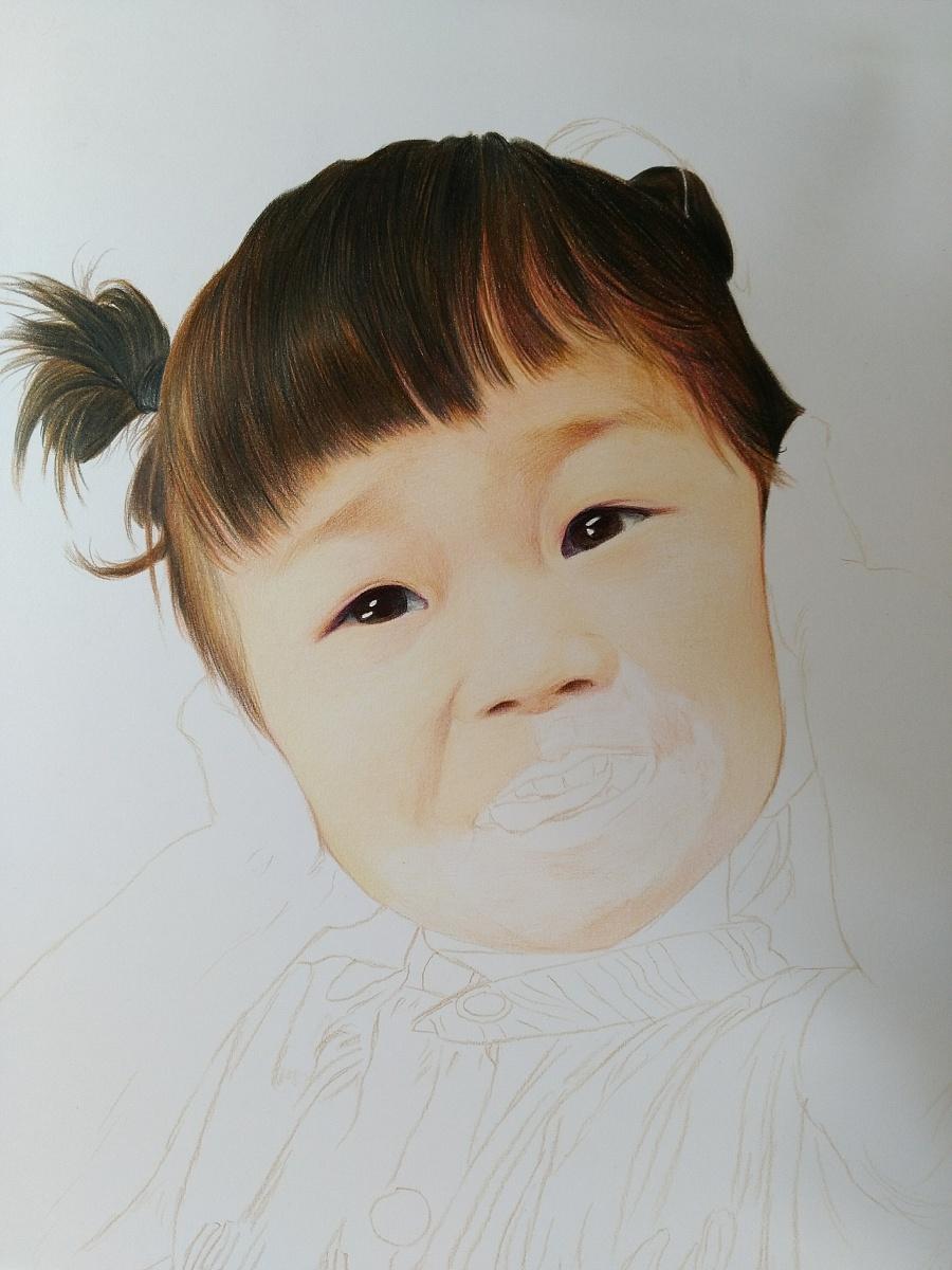 可爱的小女孩儿|彩铅|纯艺术|榕森手绘