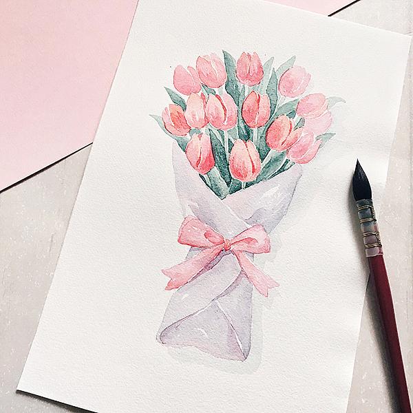 水彩手绘花卉插画
