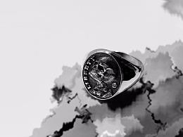 骷髅先生浅浮雕纹章戒指尾戒