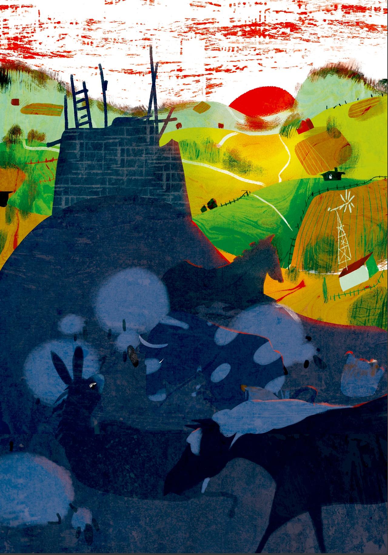 百词斩阅读计划-《动物庄园》封面以及插图