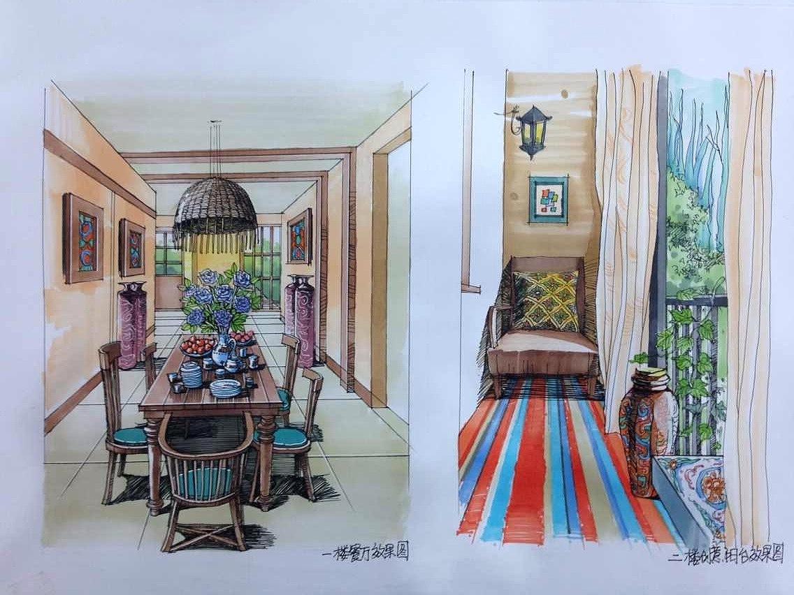 手绘别墅设计