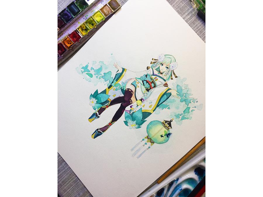 水彩手绘--阴阳师 灯姐|水彩|纯艺术|蒲之未落