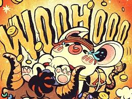 贝贝的旅途-GET LUCKY牛年复古潮流插画