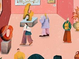 原创插画 抓住春天的尾巴春末来看展 博物馆美术馆打卡