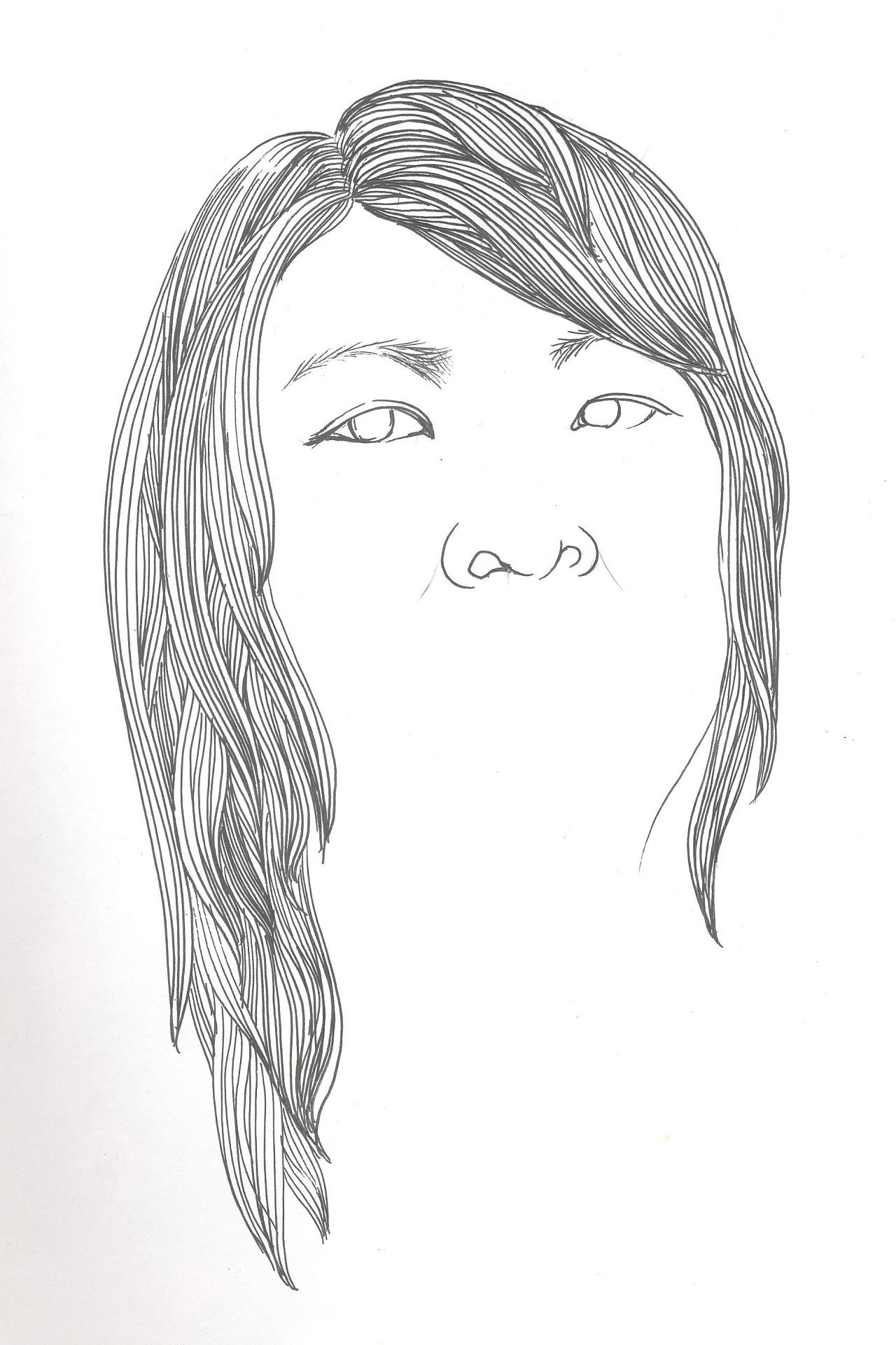 人物线描,速写,钢笔画