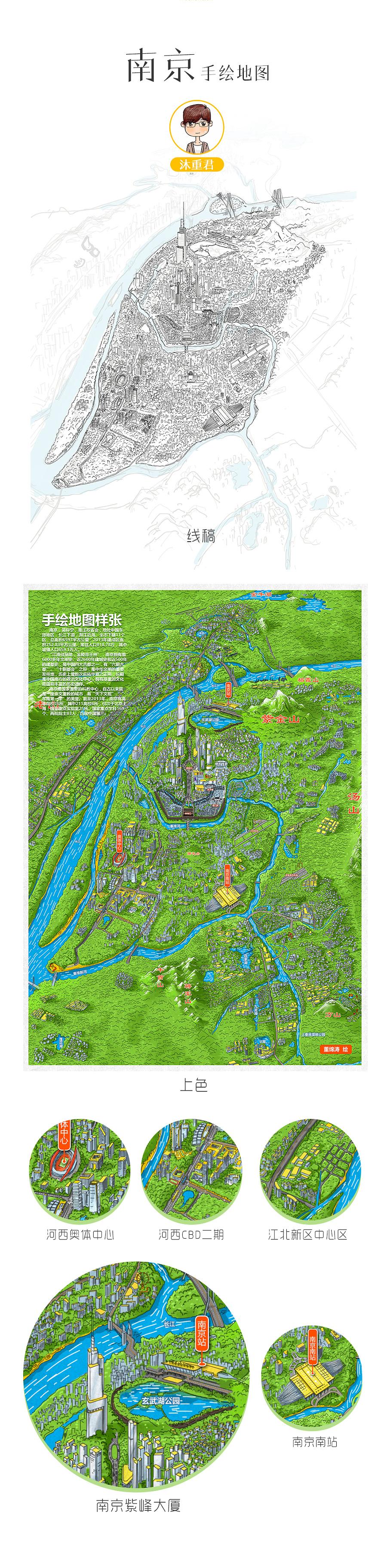 南京 手绘地图