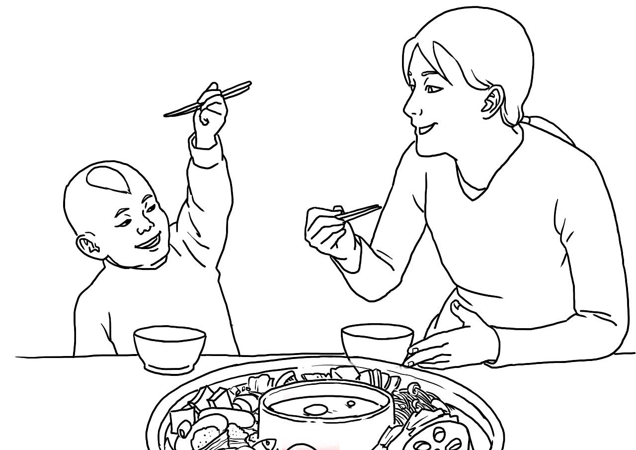 吃饭|插画|插画习作|这个风男很快乐 - 原创作品图片