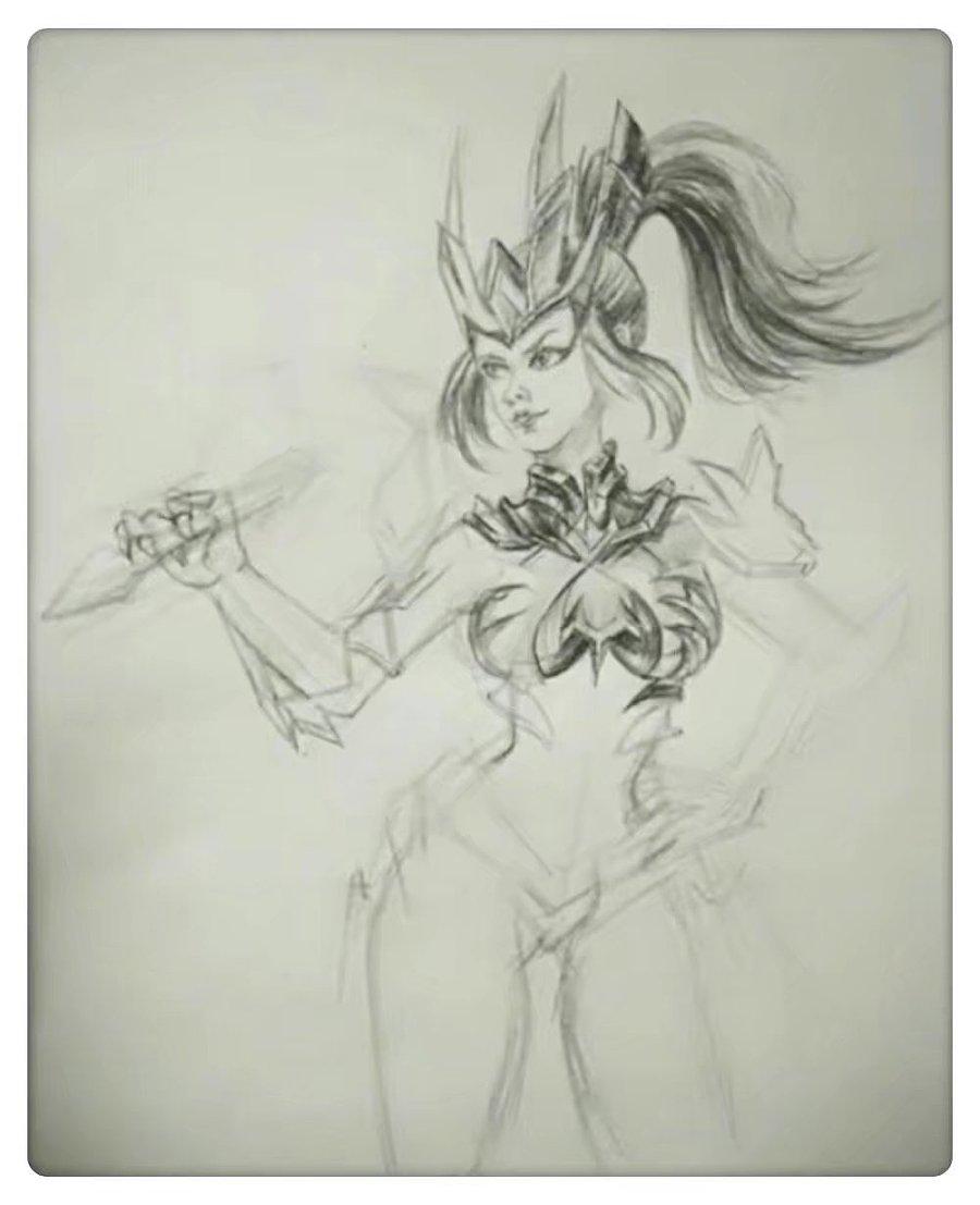 《王者荣耀》---花木兰-驱龙者 步骤|素描|纯艺术|曲