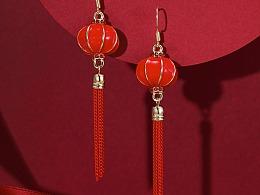 耳钉 耳环 首饰  月牙钻石耳钉 红灯笼 中国风 中国红