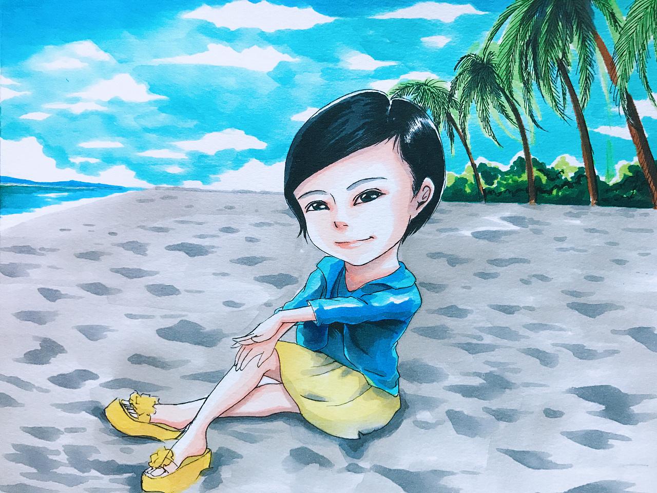 马克笔手绘-海边
