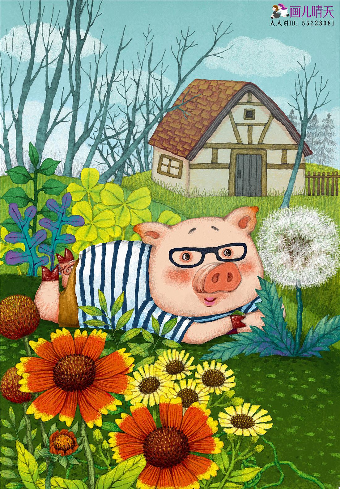 猪年插画+猪年水墨画+猪年猪猪元素作品图片