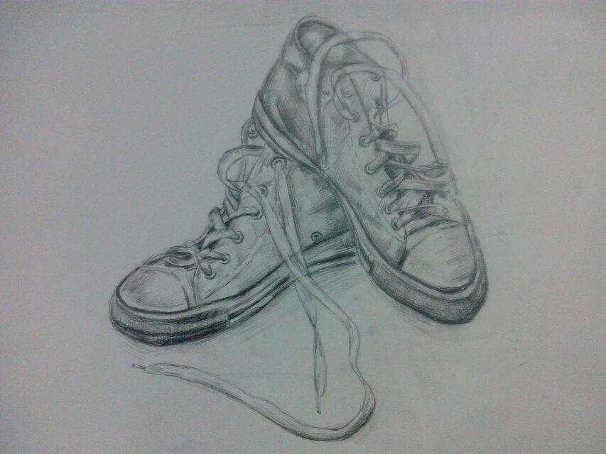 素描帆布鞋