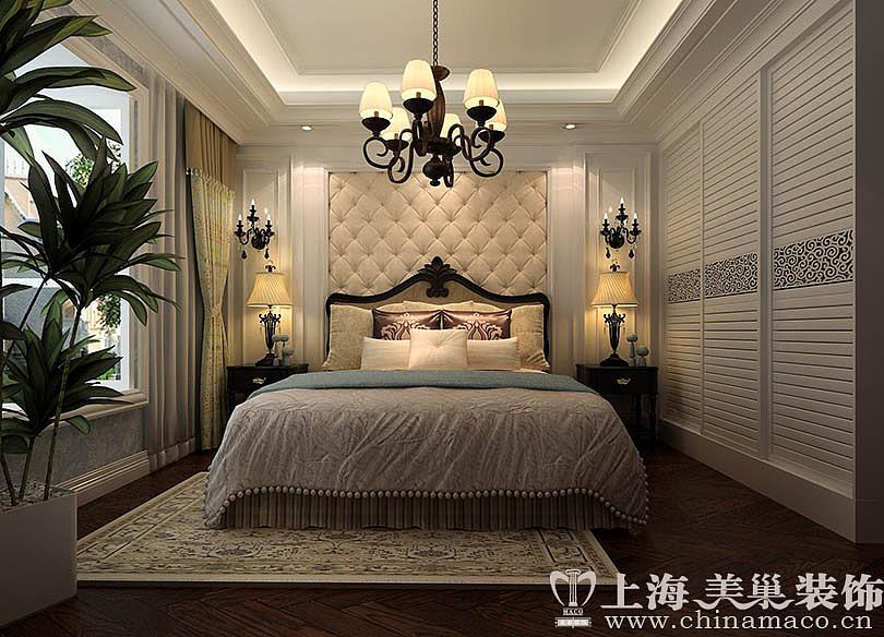 康桥悦岛135平三室两厅简欧风格装修效果图——主卧图片