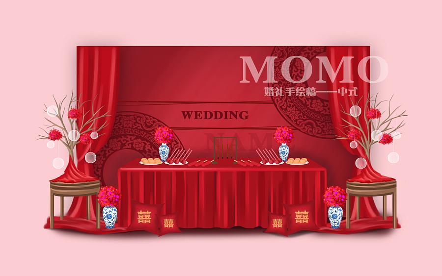 婚礼手绘图|室内设计|空间/建筑|momo瞎花花