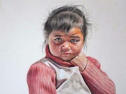 (藏族女孩)彩铅绘制过程