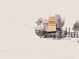 木屋小调-水墨笔记本插画