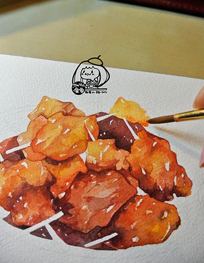 金鱼手绘美食——牙签肉|商业插画|插画|画画的金鱼