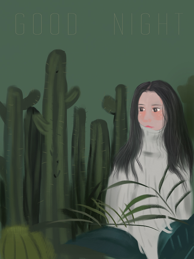 插画 练习画画 植物 人物 动漫画