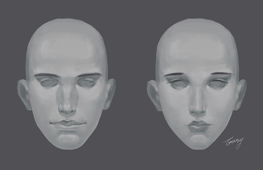 人物脸部结构练习#男女正面头像