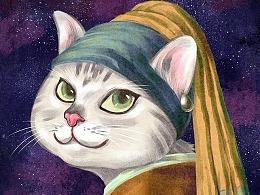 猫版《戴珍珠耳环的少女》
