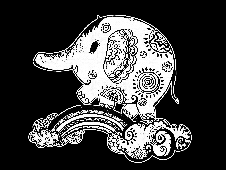 点线面-花纹小象图片