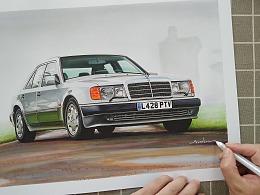 马克笔手绘-奔驰E500(1991)