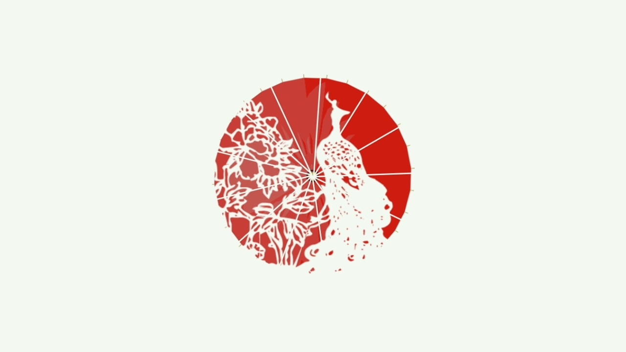 剪纸 折扇 油纸伞 br>(图案:《孔雀东南飞》)
