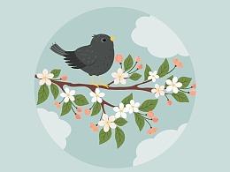 Illustrator中创建分支上的Starling插图