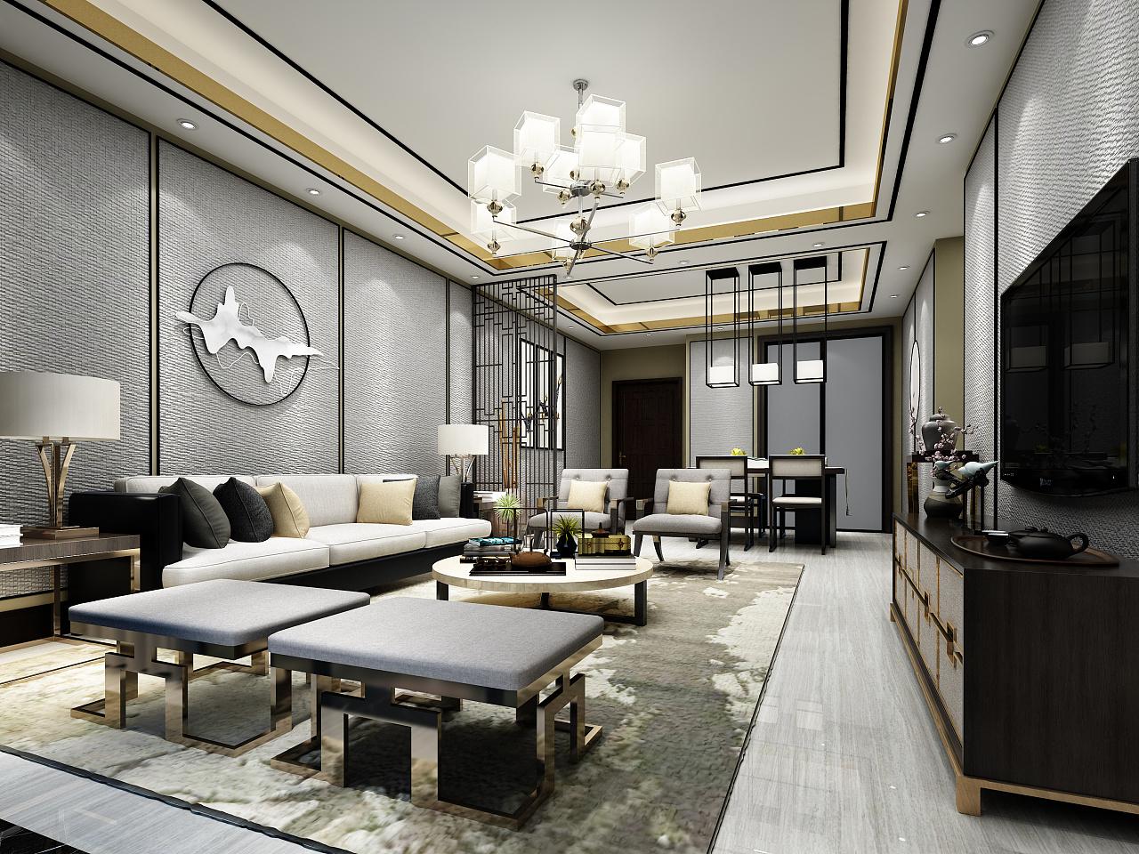 新中式室内空间方案设计图片