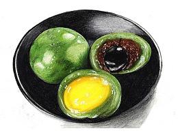 【驴大萌彩铅教程348】手绘美食 青团