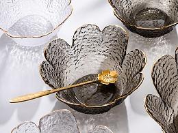 电商产品拍摄 简约风金边玻璃碗 花形锤纹描金餐具