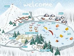 滑雪手绘地图