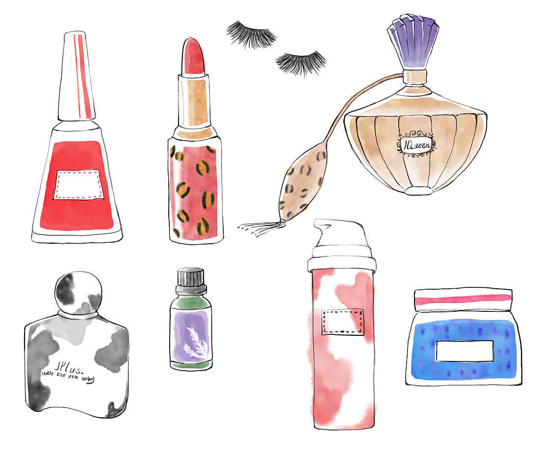 化妆品手绘插画