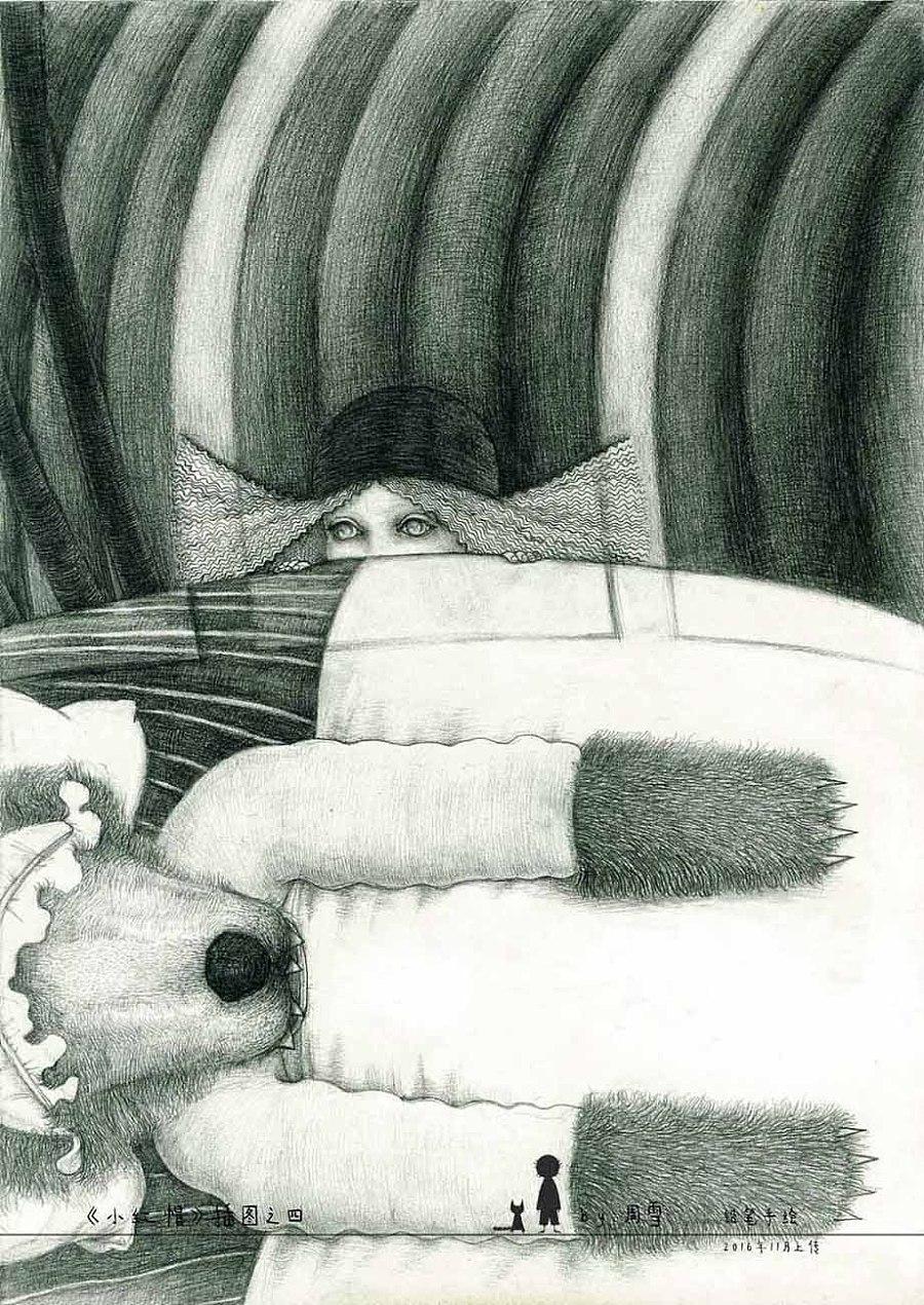原创作品:格林童话小红帽插图