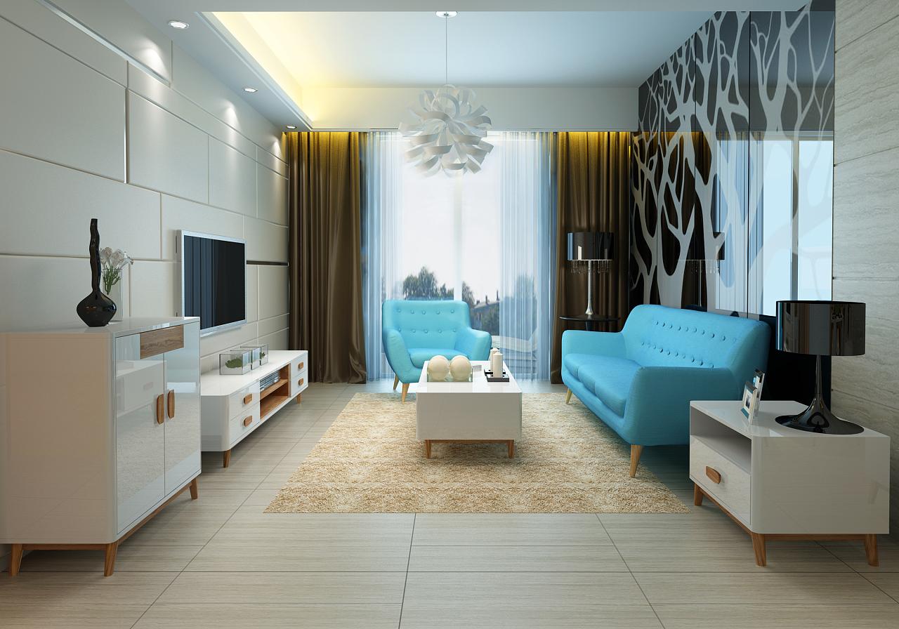 一套北欧简约风格的家具设计,沙发是找的现图片