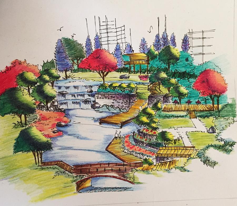 园林景观手绘效果图|彩铅|纯艺术|iiiicherry