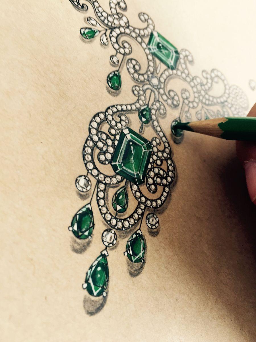珠宝手绘|首饰|手工艺|小跑鱼 - 原创设计作品 - 站酷