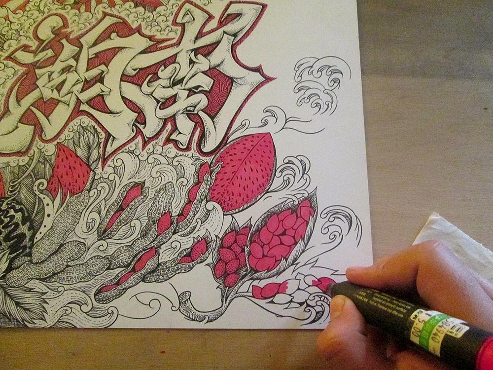 《湖南》 装饰画手绘过程