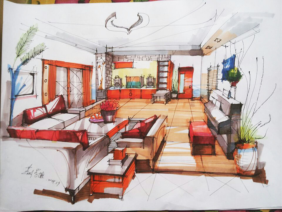 室内手绘|空间|室内设计|jingxt - 原创作品 - 站酷
