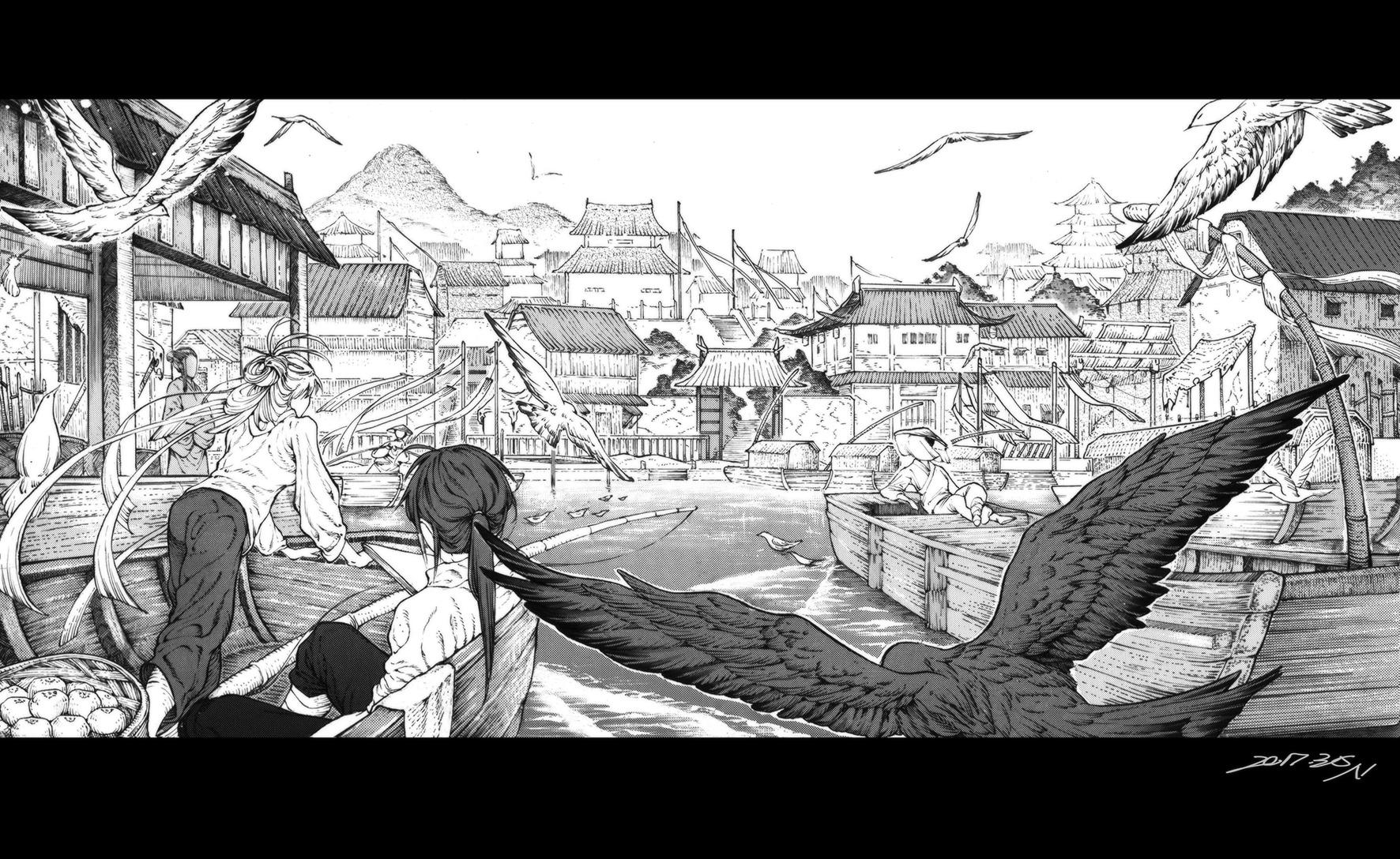 黑白场景练习-漫画|渔村|单幅动漫|逆也Nemo-3给漫画你全部都图片