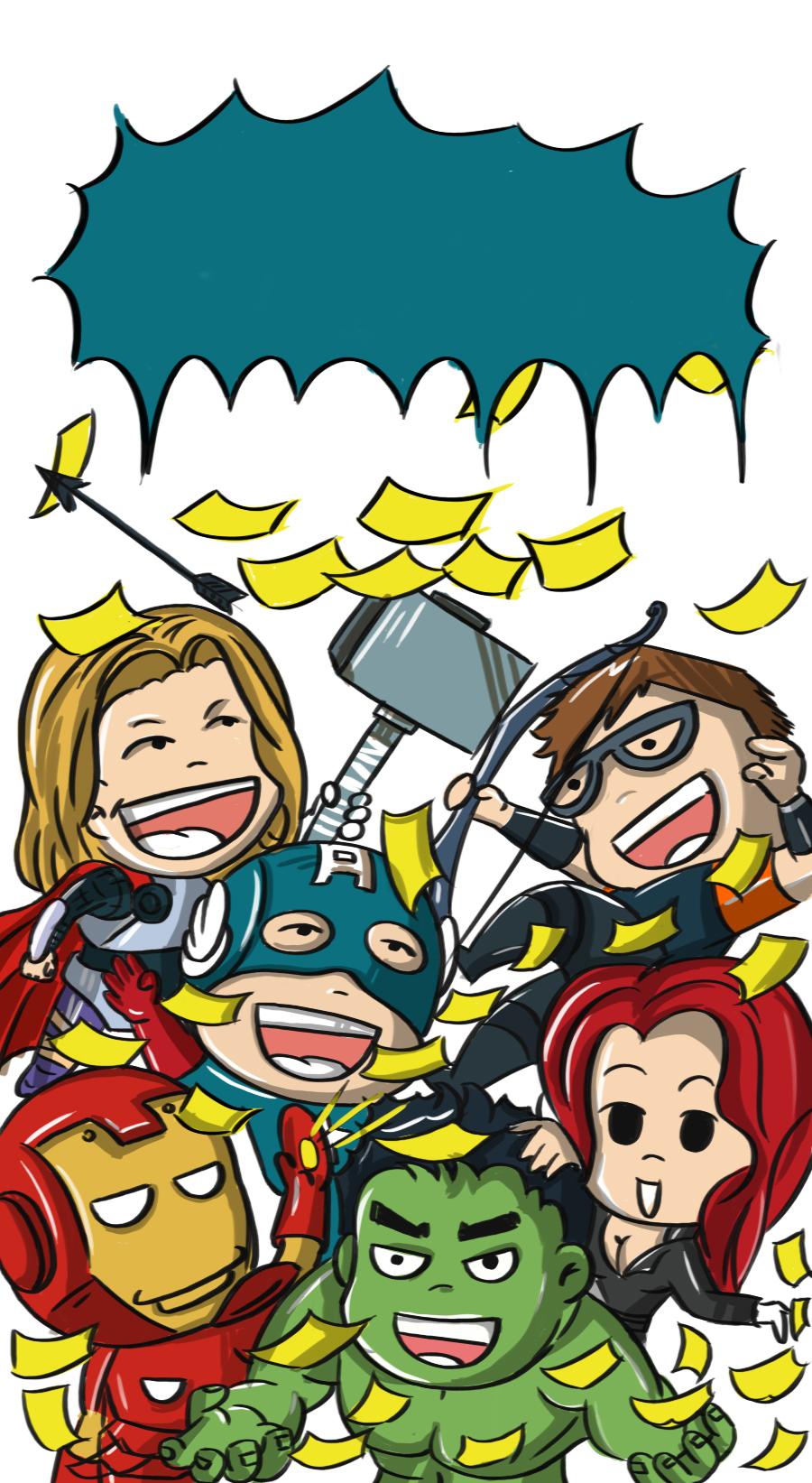 复仇者联盟卡通版 手绘卡通超级英雄