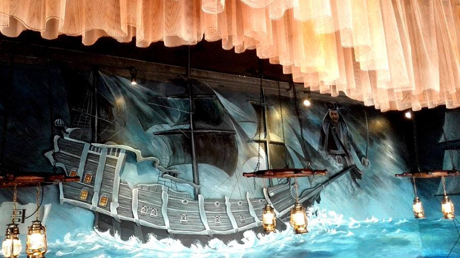 乐从彭厨电影主题餐厅手绘墙,墙体彩绘.